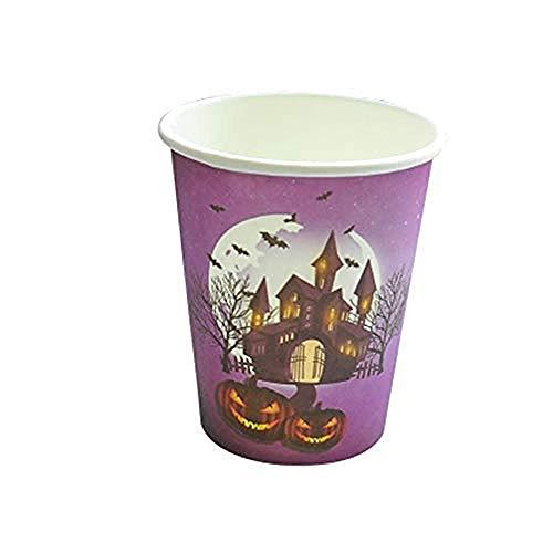 (Halloween Einweggeschirr Set Gruselige Nacht Halloween Party Kinder Halloween Party Einweg Teller, Becher, Tischdecke, Besteck, Cups(10 pcs only))