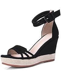 9cm negro, sandalias de cuña de paja, tacones de plataforma de verano, bolsa de palabra salvaje plataforma impermeable...