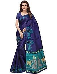 Ishin Women's Polysilk Navy Blue Printed Saree/Sari With Blouse Piece