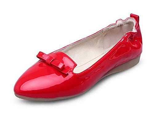 VogueZone009 Femme Couleur Unie Verni Non Talon Pointu Tire Chaussures à Plat Rouge