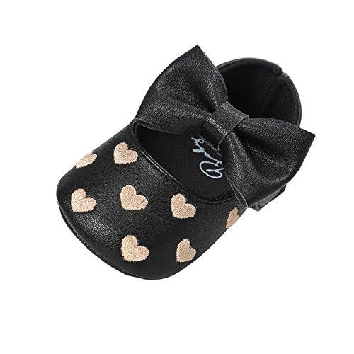 MiyaSudy Baby Schuhe Mädchen Bowknot Anti-Rutsch Weiches Sole Krabbelschuhe Lauflernschuhe für 0-18 Monate Schwarz