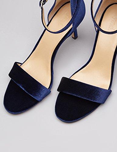 Trova Sandali Con Cinturino Da Donna Con Finitura Velour Blu (blu Scuro)