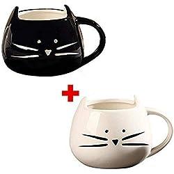 Ailiebhaus 2 Pezzi Gato Tazza di Caffè in Ceramica Tazza di latte per Regalo di Natale di Compleanno