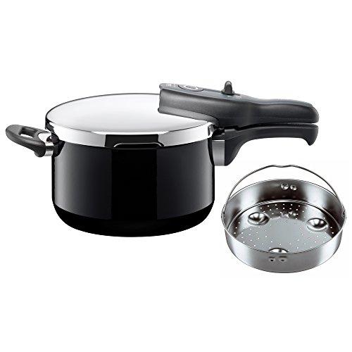 Silit Sicomatic t-Plus Schnellkochtopf 4,5l mit Einsatz, Silargan Funktionskeramik, 3 Kochstufen Einhand-Kochstufenregler induktionsgeeignet, spülmaschinengeeignet, Schwarz, Ø 22 cm