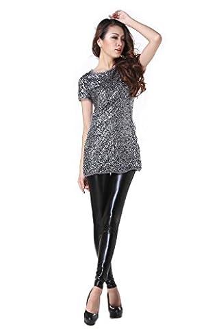 JNTworld Damen Frauen sexy Wet-Look glänzen/ glänzend Enge flüssige metallische faux Leder mit hoher Taille Bund Leggings Jeggings Petite Hoch , XXL , Glänzend