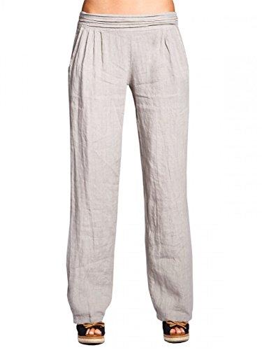 CASPAR KHS020 Damen Leinen Hose, Farbe:grau;Größe:36 S UK8 US6