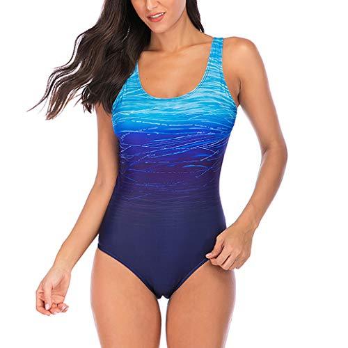 Overdose Farbverlauf Farbe Damen Übergröße Bikinis Tankini Einteiliger Badeanzug Beachwear gepolsterte Bademode Frauen Plus Size Beachwear Badeanzüge(Blau,XL)