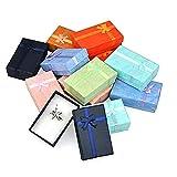 12pcs Boîte à Bijoux Cadeaux de Bijoux de Papier boîtes Assorties Cutely Petite boîte-Cadeau avec des Rubans de Satin Bownot (Couleurs mélangées)