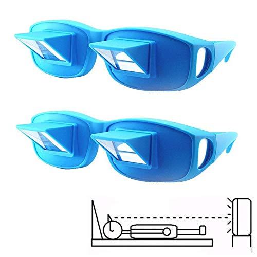 Rziioo 2pcs Prisma Brille zum Lesen im Bett, Horizontal Lazy Readers Spectacles Festlegung zum Lesen/Fernsehen