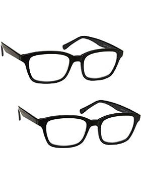 Lesebrille 2er-Pack +1,00 Dioptrie Herren Damen Groß Designer Stil Schwarz mit Etui UV Reader UVR2PK018