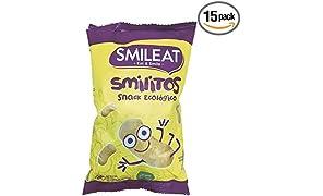 Smileat Gusanitos de Maíz Ecológico - Paquete de 15 x 38 gr - Total: 570 gr