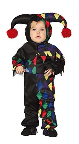 Guirca costume vestito abito travestimento maschera carnevale halloween bambino neonato clown, jolly, arlecchino - taglia 12/24 mesi