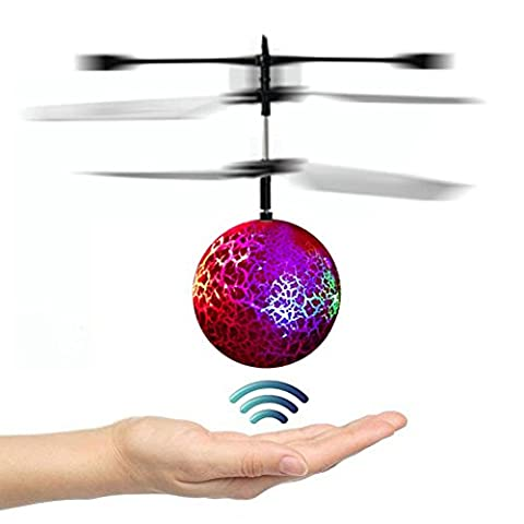 Goolsky Mini Flying Ball Drone Motion-Sensoring RC Helicopter with Colorful Flashing LED Lights Hand Induced Flight Toys Drone for Kids(Red)