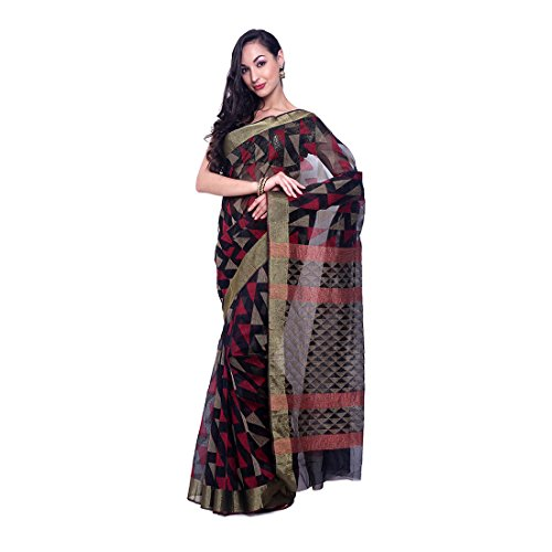 BlackBeauty Supernet Saree With Geometical Woven Design