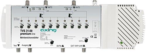 Axing TVS 31-00 Mehrbereichsverstärker 5 Eingänge kanalselektiv mit Antennenspeisung (47 bis 862MHz, 10-Kanal) Digital-8 Vhf-antenne