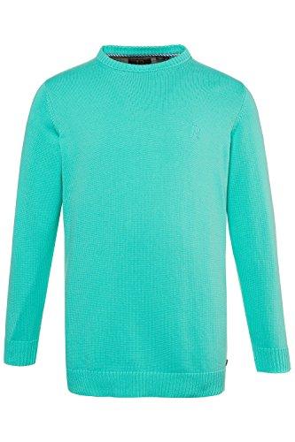 JP 1880 Herren große Größen bis 7XL, Pullover, Sweatshirt aus Strick, Rundhalsausschnitt, JP1880-Stick, Reine Baumwolle türkis 3XL 708261 46-3XL