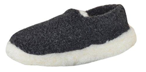 SamWo Schafwoll-Wohlfühl-Hausschuh/Pantoffeln Unisex,Weiche Rutschfeste Sohle,100% Schafwolle Größe: 37-48 (47-48, Anthrazit/Wollweiß)