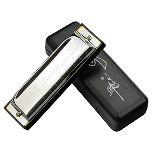 Generic Diatonic Harmonica 10 Holes Blues Harp Mouth Organ Key of C Reed Silver Swan...-57002934MG  available at amazon for Rs.435