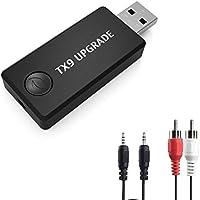 Transmisor Bluetooth, LURICO Transmisor de Música Bluetooth Adaptador, 3.5mm Audio Jack Soporte Auriculares o Altavoces para TV/DVD/MP3