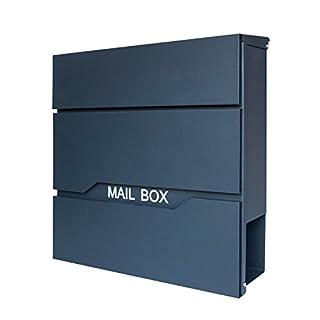 LZQ Neu Typ Zeitlosem Design Edelstahl Briefkasten, Wandbriefkasten mit Zeitungsfach, A4 Einwurf-Format, Abschließbar, Anthrazit (Modell D)
