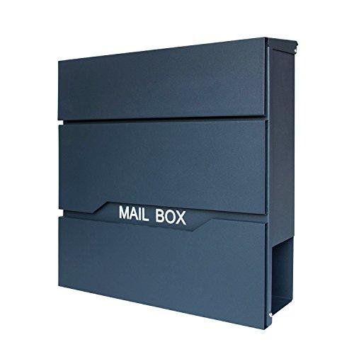 HENGMEI Design Briefkasten mit Zeitungsrolle Postkasten Wandbriefkasten Mailbox Groß Zeitungsfach Edelstahl pulverbeschichtet, Anthrazit (D Modell)