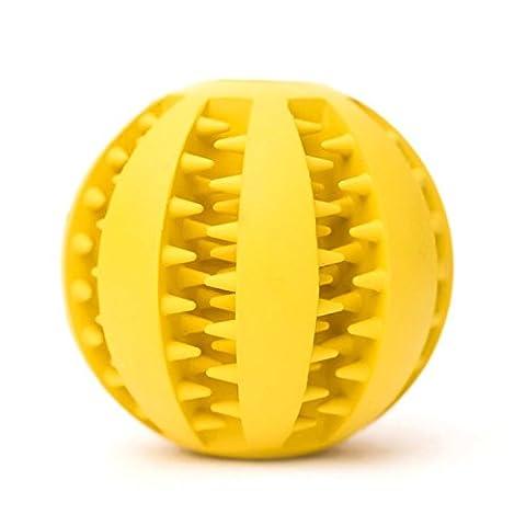 Newnet Balle jouet pour chien, boule de jouet résistant non toxique Bite pour chien chiot chat, nourriture pour chiens Treat Feeder dents animaux chien balle nettoyage des dents nettoyage Chew balle Pet Fictif Ballon d'entraînement Ball QI(jaune)