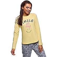 oodji Ultra Mujer Camiseta de Estar por Casa con Manga Raglán e Inscripción en el Pecho