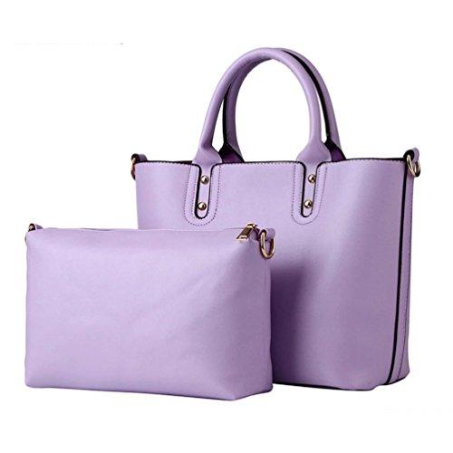 Baymate Damen Entzückende Handtaschen Schulter Beuteltote Set Lila