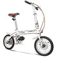 Bicicleta plegable de 14 pulgadas niños ultraligeros estudiantes adultos mini bicicleta (Color : Blanco)