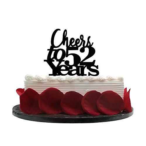 Minhero Lee Cheers bis 52Jahre Cake Topper, 52Nd Geburtstag, Hochzeit, Jahrestag, Ruhestand Party Wimpelkette Schild Dekorationen Foto Props-Black