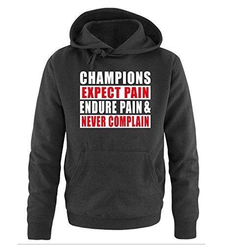 Comedy Shirts - CHAMPIONS EXPECT PAIN - Uomo Hoodie cappuccio sweater - taglia S-XXL different colors nero / bianco-rosso