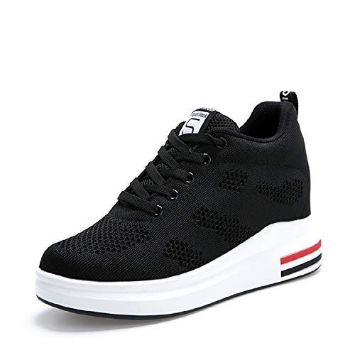Aonegold® scarpe con zeppa interna donna scarpe da ginnastica basse sportive fitness sneakers zeppa interna 8cm(nero,39 eu)