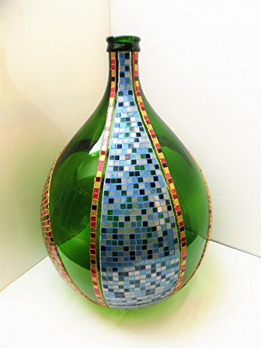 Damigiana grande in vetro decorata con mosaico