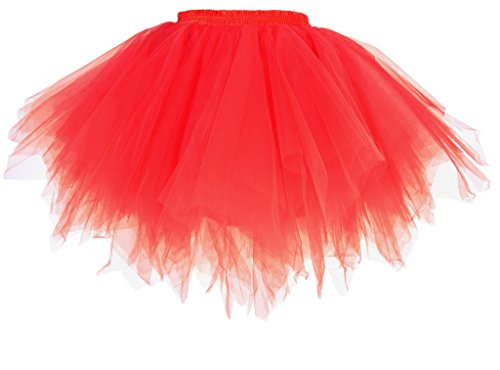 Dancina Damen Petticoat 50er Jahre Retro Tutu Tüllrock Rot Standardgröße (50er Jahre Tanz Kostüme)