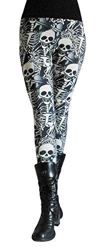 Gothic Skelett Totenkopf Skull Leggings Gr. (Kostüm Punk Skull)