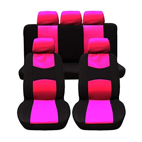 GUOCU Copri-sedili Auto Universale Set Completo/Set Copri-Sedile Universali per Anteriori e Posteriori/Accessori Auto Interno RoseRed 9 Pezz