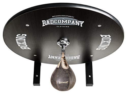 Supreme Speedball Plattform Set inkl. Drehkugellagerung schwarz und Rindsleder Boxbirne med. braun/Boxapparat für die Wandmontage BCA-39