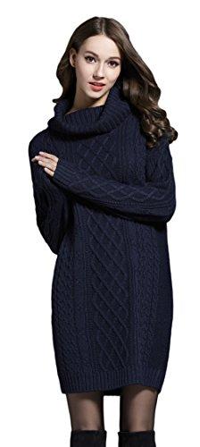 La Vogue-Felpe da Dona Maglione Lungo Slim Fit con Collo Alto Busto 100cm Blu Scuro