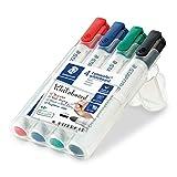 STAEDTLER 351 WP4 Lumocolor Whiteboard Marker met Bullet Tip, Multicolor, Pack van 4