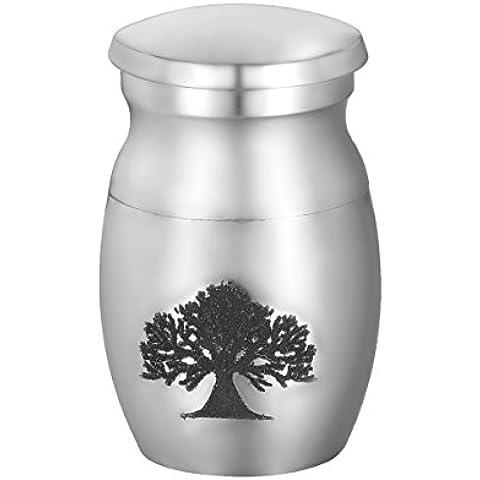 Valyria de árbol de la vida urna para cenizas crematorias funerarias, impermeable, acero inoxidable, Color Plateado