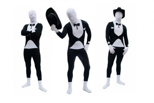Goods & Gadgets Spandex-Lycra Ganzkörperanzug Body Suit Anzug - Tuxedo / Smoking / Butler Kostüm Gr. ()