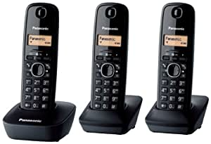 Panasonic KX-TG1613 Telefono Cordless Domestico, Trio, Nero