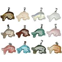 JSDDE 12x Edelsteine Anhänger Delphin Form Trommelsteine Heilstein Reiki Chakra Set ca.15-20mm Verschiedene Stein... preisvergleich bei billige-tabletten.eu