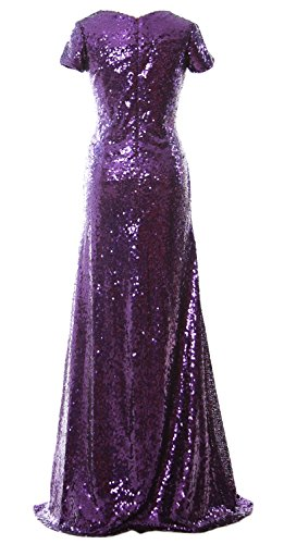 MACloth Mermaid Cap Sleeve Sequin Long Bridesmaid Dress Formal Evening Gown Royal Blue