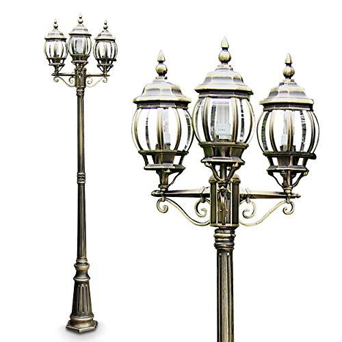 Sehr edler Kandelaber in Braun-Gold - 3-flammige Sockelleuchte für den Garten - Wegeleuchte aus glänzendem Metall mit drei Lampenschirmen - Außenleuchte im Vintage-Stil