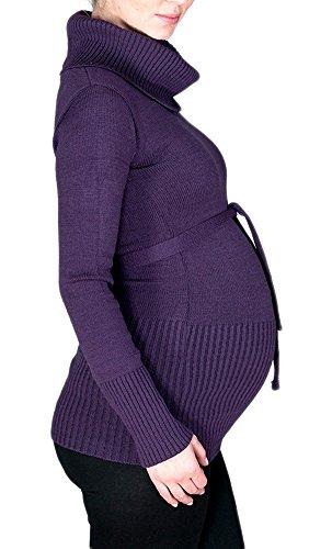 Happy Mama. Femme Maternité Tunique en Maille Pull de Grossesse. Col Roulé. 358p Pourpre
