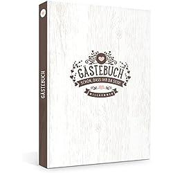 Hochwertiges Hardcover Gästebuch in rustikaler Vintage Optik, Fadenheftung (kein Ausreißen d. Seiten), 176 Blanko-Seiten bzw. 88 Blatt, Format 21 x 33 cm, geeignet für z.B. Hochzeit, Geburtstag, Jubiläum oder die Ferienwohnung