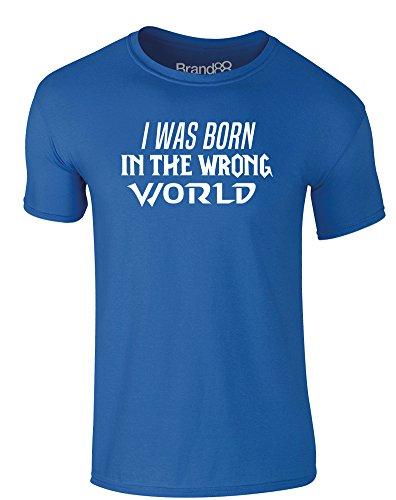 Brand88 - I Was Born in the Wrong World (Action), Erwachsene Gedrucktes T-Shirt Königsblau/Weiß