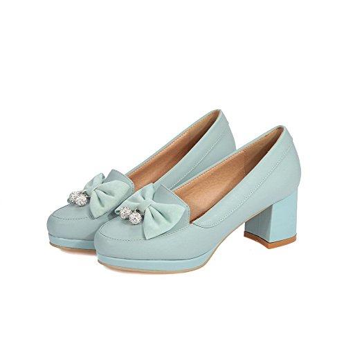 VogueZone009 Femme Rond Tire Pu Cuir à Talon Correct Couleur Unie Chaussures Légeres Bleu