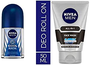 Nivea Deodrant Roll On, Cool Kick, 50ml and NIVEA MEN Face Wash, All-in-One, 100ml